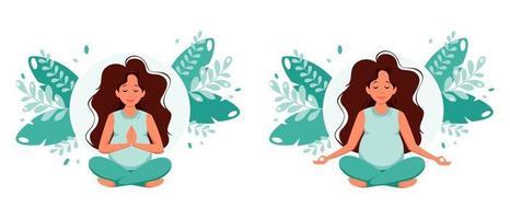 Pregnant caucasian woman meditating in lotus pose Pregnancy health concept vector