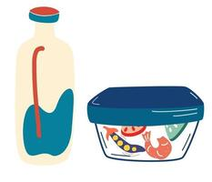 Lunch in a container Food in a lunch box and a bottle of milk School Office Snack in a Plastic Container Healthy fresh and natural food concept Healthy Breakfast Vector flat illustration