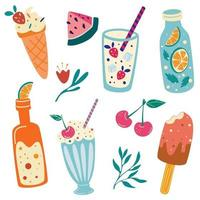 Summer food and drinks Watermelon cherry ice cream lemonade soda milkshake Summer vacation Cute hand drawn set Beach party icons Good for web banners posters cards Vector illustration