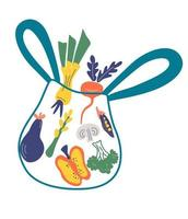 Eco shopping bag with vegetables Leek pepper broccoli peas mushrooms eggplant asparagus Healthy organic fresh and natural vegan food concept grocery delivery Zero waste concept Vector