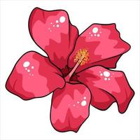 Tropical plant bright flower in cartoon style vector