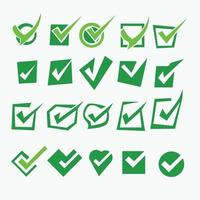 Various check mark icon and doodle collection element vector