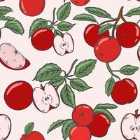 Colorful pattern with red apples Vector