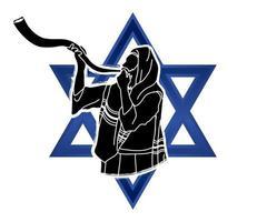 Jewish Blowing The Shofar Kudu Horn vector