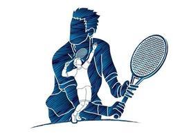 Grupo de acción de jugador de tenis masculino vector