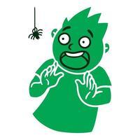 Hombre con emociones asustadas avatar emoji asustado retrato de una persona en pánico estilo de dibujos animados diseño plano ilustración vectorial vector