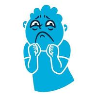 Man with sad emotions Sorrow emoji avatar Portrait of an upset person Cartoon style Flat design vector illustration