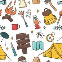 Camping and hiking elements seamless pattern vector
