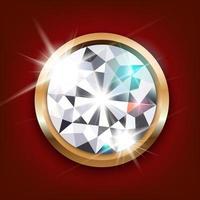 gemstone diamond vector on red background eps10