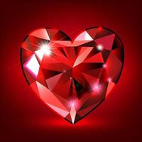 ruby heart shaped on red background vector