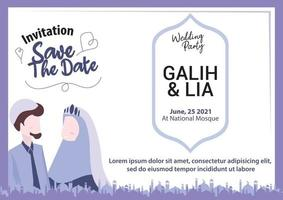 Muslim couple illustration for wedding invitation purple hijab islamic mosque save the date wedding party landscape vector