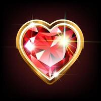 Bright ruby in the shape of a heart vector