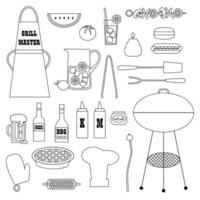 barbecue cookout supplies black outline digital stamps vector