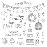 new years eve 2022 black outline digital stamps vector
