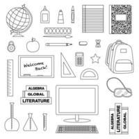 school supplies black outline digital stamps vector