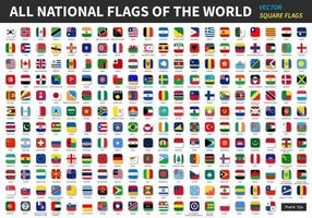 All official national flags of the world  Square design  Vector