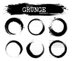 Set of abstract grunge circle shapes  Vector
