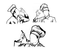 Black and white doodle sketch of chefs wearing traditional toques in cartoon style vector