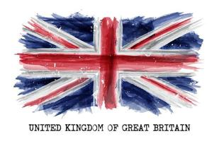 Watercolor painting  flag of United kingdom of great britain  UK   Vector