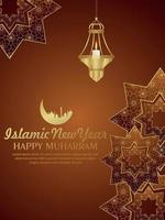 Islamic new year party flyer with pattern background and arabic lantern and moon vector