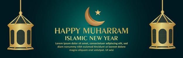 Islamic new year happy muharram celebration banner with islamic golden lantern and moon vector