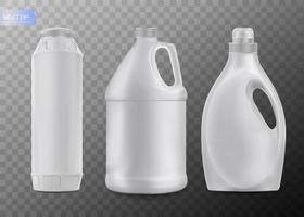productos químicos domésticos botellas de plástico en blanco con mango vector realista aislado sobre fondo transparente detergente líquido o jabón quitamanchas blanqueador de lavandería limpiador de baño o inodoro