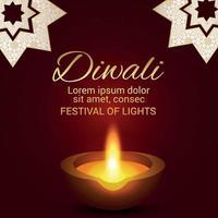 Indian festival of happy diwali celebration greeting card with creative diwali diya vector