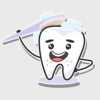Tooth and toothbrush sticker vector