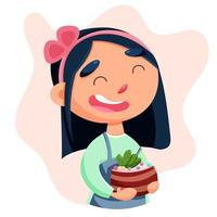 Cute girl confectioner with a cake in her hands vector