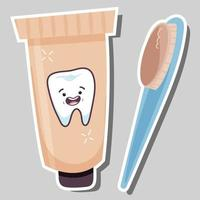 Toothpaste and toothbrush sticker vector