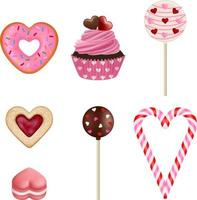 set of romantic desserts with hearts vector