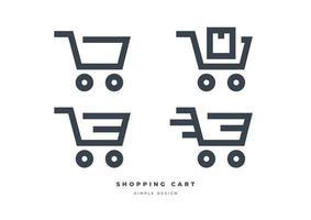 Shopping cart icon set isolated on white background vector