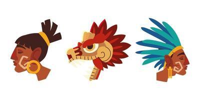 guerrero azteca se enfrenta a plumas de tocados tradicionales e iconos de serpientes vector