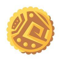 aztec icon treasure ancient golden coin vector