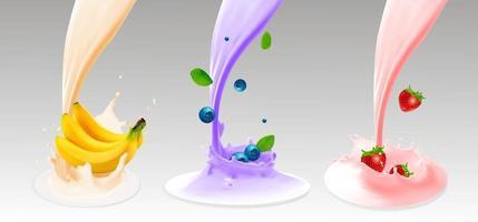 Fruit berries and yogurt Realistic illustration 3d vector icon set 3