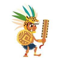 Guerrero azteca en armas tradicionales tribales y tocados vector