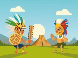 guerreros aztecas en el escudo del sombrero y el paisaje de la pirámide vector