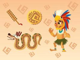 aztec warrior in traditional feather headgear snake coin and weapon set icons vector