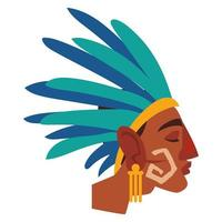 Perfil de guerrero azteca en tocado de plumas vector