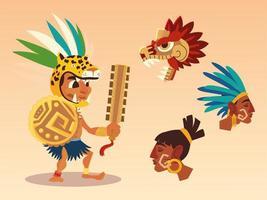 guerrero azteca tradicional cultura serpiente antigua vector
