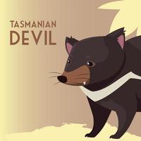 diablo de tasmania australiano animal fauna silvestre vector