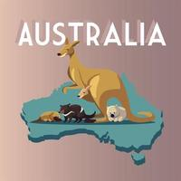 australia mapa animales graciosas dibujos animados vida silvestre vector