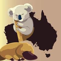 platypus and koala map australian animal wildlife vector