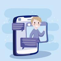 smartphone website video call social media cartoon vector
