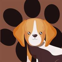 portrait of pet little dog beagel with paw background vector