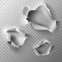 Realistic holes set in paper isolated on transparent backgroun Vector illustration