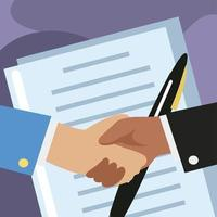 two hands doing a handshake business concept approval of documents vector