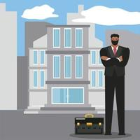 businessman with mask and briefcase successful character vector