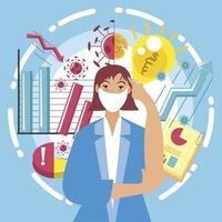 business woman growth and failure new idea creative vector