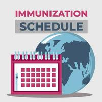 protección del calendario mundial de vacunas contra el covid 19 vector